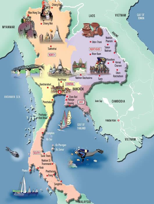 Thailand Map For Tourist – Thailand Tourist Map